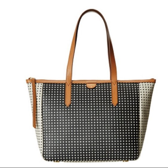Fossil Handbags - Fossil Sydney Shopper Tote - Black and White Dots